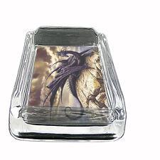 Glass Square Ashtray Dragon Design-007 Custom Fantasy Medieval Mythology