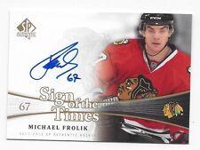 2012-13 SP SOTT autographed hockey card Michael Frolik, Chicago Blackhawks