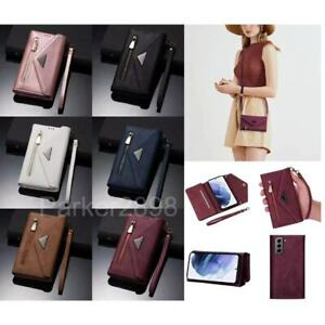 For Samsung Galaxy S21 S20 S10 S9 Ultra Plus Crossbody Leather Wallet Case Cover