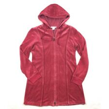 CAbi 148 Zip Up Hoodie Size Small Berry Pink Velour Full Zip Front Long Jacket