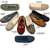 Moccasins Women Slip On Indoor Outdoor Shoe Slipper Fur Loafer #985