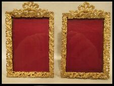 PAIRE CADRE BRONZE DORÉ 19éme PORTE PHOTO LOUIS XV XVI antique photo frame