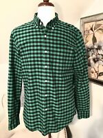 J Crew Mens Slim Fit Large Green Black Buffalo Check Plaid Oxford Shirt