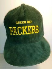 Vintage Green Bay Packers Corduroy Snap Back Hat AJD Embroidery NFL Football