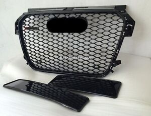 For 2013-2015 Audi A1 RS1 Style Honeycomb Black Grille Black Frame Black Ring