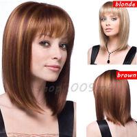 40cm Blonde/Brown Straight Bob Style Hair Dark Synthetic Wigs Women Short Wig