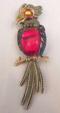 Vintage ART Signed Ruby Red Glass Jelly Belly Parrot Bird Brooch Pin w/ Enamel