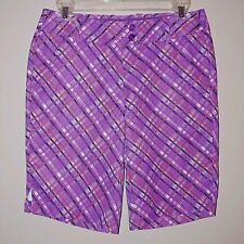 Callaway Opti-Dri Purple White Orange Plaid Shorts Size Medium Flat Front Golf