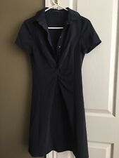 Elie Tahari navy blue crepe dress collar button down size 2 Free shipping