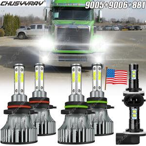 9005 9006 881 LED Headlight Fog Light Kit Bulbs For Freightliner Coronado 13-18