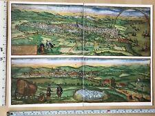 Old Antique Map Barcelona, Ecija Spain: 1567 Braun & Hogenberg REPRINT 1500's