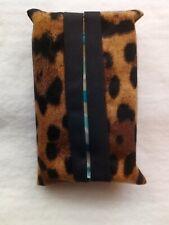 Tissue Packet Leopard Animal Print Pocket Holder Fabric Cover Handmade
