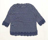 M&Co Womens Size 12 Striped Cotton Blue T-Shirt (Regular)