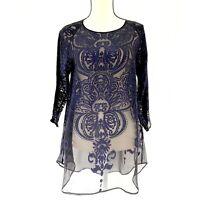 Calypso St Barth Floral Sheer Silk Blend Blouse 3/4 Sleeve Navy/black Sz S