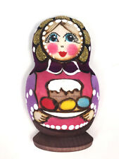 Russian Colorful Wooden Matryoshka Doll Magnet With Kulich and Easter Eggs