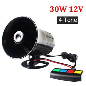 4-Sound Car Warning Alarm Police Fire Siren Horn Loud Tone Speaker 110dB 30W