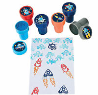 24 Spaceship Stampers Self-Inking Rocket Astronaut Birthday Party Favors