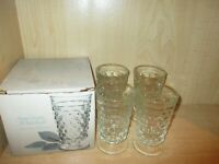 Indiana American Whitehall 4pc. 14oz. Cooler Glass Tumblers Set w/Box Vintage