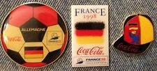 1998 World Cup Soccer Pins~Lot of 3~Football~Germany~Footix~Coca Cola~Coke