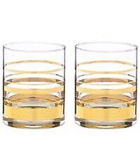 Kate Spade Lenox Set of 2 Hampton Street Gold Stripes Glasses 12oz Whisky Double
