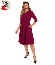 Hearts & Roses Pretty Plum 50s Dress Vintage Style Swing