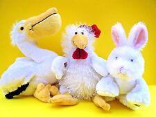 GANZ WEBKINZ Bunny Rabbit HM078 Pelican HM211 Chicken Rooster HM205 White NEW