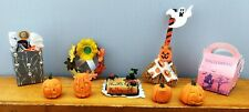 Halloween Miniatures Vintage (10) Pcs Accessories Pumpkins, Cake, Tricks & Treat