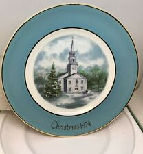 Avon Christmas Plate 1974 Country Church by Enoch Wedgewood Original Box