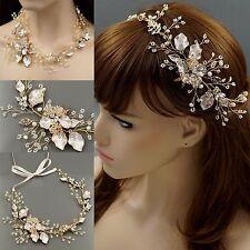 Crystal Freshwater Pearl Headband Tiara  Wedding  Bridal Vine Gold Necklace 0126