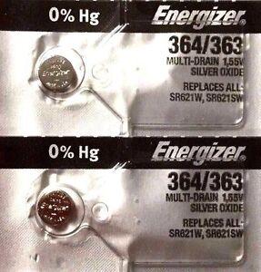 2 NEW ENERGIZER SR621SW 364/363 Silver Oxide 1.55v Watch Batteries Aussie Stock