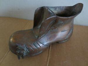 Alter Schuh Skulptur massiv aus Kupfer Bronze für Sammler 16 cm,