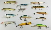 14 VTG Fishing Lure Lot Rebel Rapala Floating Husky Zara Spook Thin Fin Bagleys