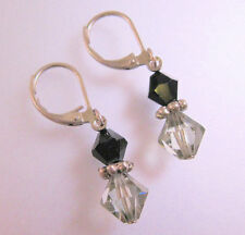 Bead Drop or Dangle Earrings Vintage Edwardian Style Gray & Black Crystal