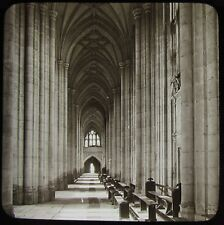Glass Magic Lantern Slide NORTH AISLE WEST WINCHESTER CATHEDRAL C1890 PHOTO
