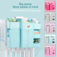 Baby Cot Bed Hanging Storage Bag Crib Organizer Toy Diaper Pocket for Crib
