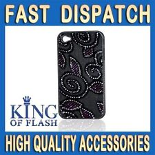 Iphone 4 4G 4S New Hard Back Case Cover Designed Purple & silver With Black Back