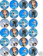 Disney Frozen Cupcake Cake Toppers Edible Rice Paper Sheet of 24 UnCut