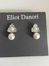 $50 Eliot Danori Silver Tone Pearl & Crystal Flower Drop Earrings #63