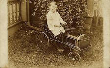 CUTE LITTLE BOY AND HIS EMPIRE PEDAL CAR (VINTAGE REAL PHOTO POSTCARD)
