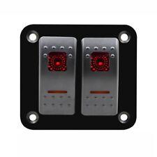 12V-24V 2 Gang red Rocker Switch Panel Circuit Breaker Boat Marine Waterproof C4