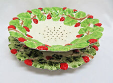 2 piece Strawberry Ceramic Strainer and Dish/Plate, Italy