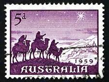 Timbre australie vintage magi noël photo art imprimé poster BMP1795B