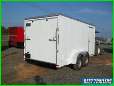 2020 7 x 14 cargo New enclosed motorcycle trailer white 7x14 tancem axle built