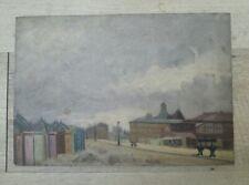 Ancienne peinture sur bois HSB Vue d'une ville du Nord France Belgique 1900