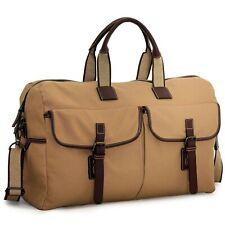 "Jack Georges Canvas Barrel Duffel Bag - 22"" Khaki w/ Full Grain Leather Accents"