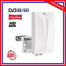 Antenne TNT TV Amplificateur Exterieur Puissante Full HD 50km DVB-T2 VHF UHF FM