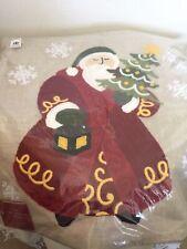 "Pottery Barn Santa Crewel Pillow Cover Embroidered Linen 18"" Button Back Nwt"