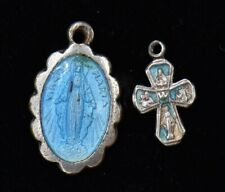 Miraculous Virgin Mary Blue Enamel Medal Pendant Sterling Silver Charm Cross Lot