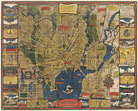1920 Pictorial Map New Haven Connecticut Yale Historic Vintage Wall Art Poster