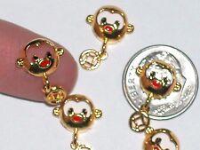 2pc Miniature dollhouse tiny little Crystal gold plated lucky Monkey charm 3d
